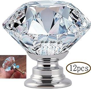 MINGZE 12 piezas Manija de puerta de cristal Tiradores de Muebles Pomos aparador Perilla de gabinete de vidrio Perillas...