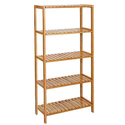 SONGMICS 5 Niveles Estantería de bambú para baño Librería Organizador  Zapatero 130 x 60 x 26 701744f57ffe