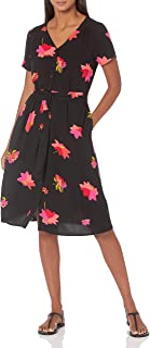 Amazon Essentials Damen Short-Sleeve Midi Button Front Tie Dress Dresses