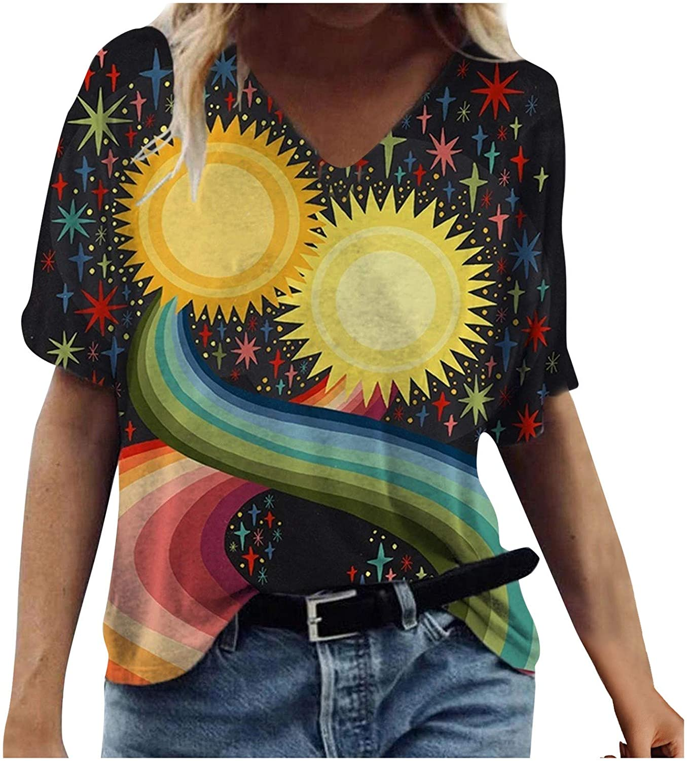 Max 53% OFF Animals Patterned Tops for Womens V Short Sleeve 70% OFF Outlet Pullover T Neck
