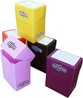 Totem World 5 Premium Deck Boxes in Assorted Bright Colors - Fits Pokemon, Yu-Gi-Oh, and Magic The Gathering Cards - Perfect Party Favors Or Kids Birthday Gifts - Orange, Yellow, Purple, Pink, Brown