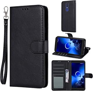 Case for Alcatel 1x (2019) / Alcatel Onyx, Everun Premium PU Leather Flip Wallet Case Cover for Alcatel 1X (2019) / Alcatel Onyx (Black)