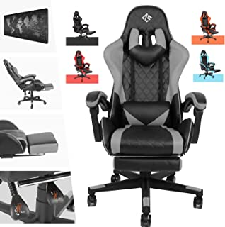 AUSELECT Gaming Chair Ergonomic Office Chair Racing Style High-Back PU Leather PC Computer Gaming Chair Adjustable Height ...