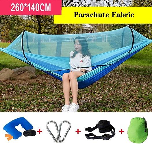 XIAOMEI Lightweight Double Hamac De Camping avec Net,Portable Pliable Sling Lit D'Oscillation Sangles D'Arbre Parachute Support 600 Lbs Plein Air Barbecue-f 260x140cm(102x55in)