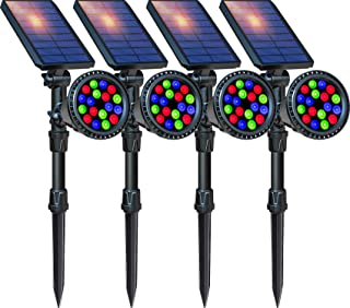 DBF Multicolor Solar Lights Outdoor, Upgraded 18 LED Waterproof Solar Landscape Spotlights Color Changing Auto/Lock Solar Powered Lighting for Garden Yard Pathway Pool Decorative, Pack of 4 (7 Color)