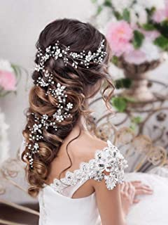 Catery Flower Bride Wedding Headband Silver Crystal Pearl Hair Vine Braid Headpiece Bridal Hair Accessories for Women(65CM, Silver)