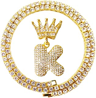 Iced Out Hip Hop Gold King Crown Bail Cz Diamond Initial Letter Pendants Tennis Chains