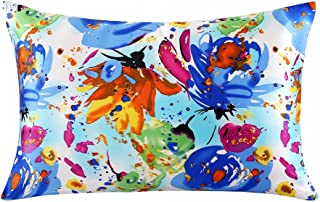 ZIMASILK 100% Mulberry Silk Pillowcase for Hair and Skin Health, Both Side Silk,Floral Print, 1pc (Queen 20''x30'', pattern3)