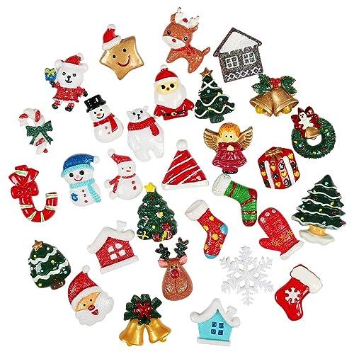 1dbbfa8f8f7 Kesote 30 Piezas de Mini Adornos Navideños de Resina Papá Noel