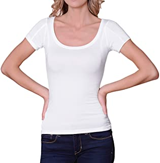 Sweatproof Undershirt for Women, Scoop Neck, White, Sweat Pads
