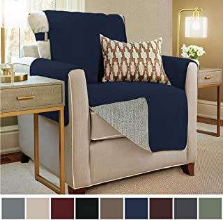 Gorilla Grip Original Slip Resistant Chair Slipcover Protector, Seat Width Up to 23 Inch Suede-Like, Patent Pending, 2 Inch Straps, Hook, Chairs Furniture Cover for Kids, Dogs, Pets, Chair, Navy Blue