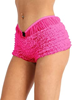 KKmeter Women's Ruffled Bloomers Lace Trim Pettipants Panties See Through Booty Shorts Club Dance Underwear