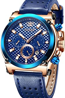 Watches for Men Male Brown Leather Sport Wrist Watches Classic Chronographs Clock Black Blue Valentines Gifts for Boyfriend, Waterproof Date Luminous Business Casual Watches OLEVS New