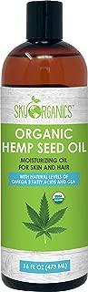 Organic Hemp Seed Oil by Sky Organics (16oz) 100% Pure Cold-Pressed Hemp Oil –High in Omega 3-6-9 Fatty Acids- Not CBD oil- Sativa Oil- Food grade, Non-GMO, Cruelty Free- Great for dry skin