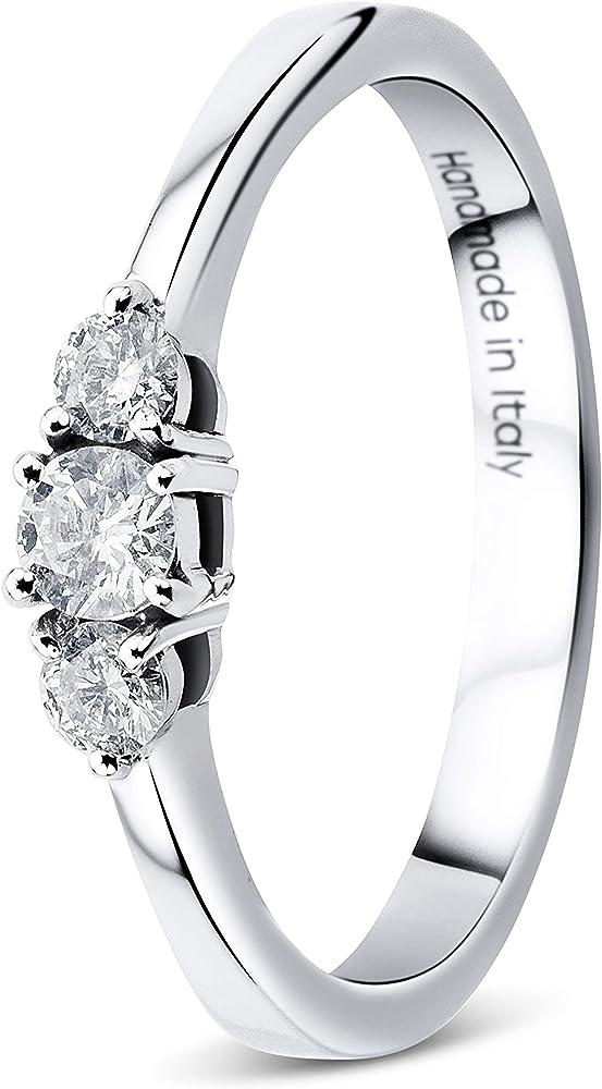 Orovi - anello da donna in oro bianco, 9 (375) (2,3 g), trio di diamanti da 0,23 carati OR9111R54