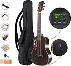Left Handed - Caramel 6 String CB500GL 30 Inch All Rosewood Baritone Acoustic Electric Ukulele Guitalele with Truss Rod, Padded Gig Bag, Strap and Picks