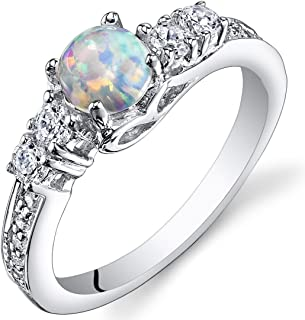 Created Opal Ring Sterling Silver Round Cabochon 0.50 Carats Sizes 5 to 9