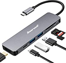 USB C Hub, Hiearcool USB C Dongle, 7 in 1 USB C to HDMI Multiport Adapter Compatible for MacBook Pro USB C Laptops Nintend...