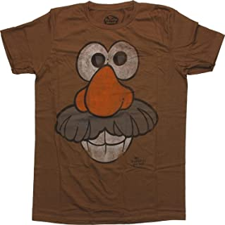Men's Khaki Cotton Mr Potato Head Face T-Shirt Sheer