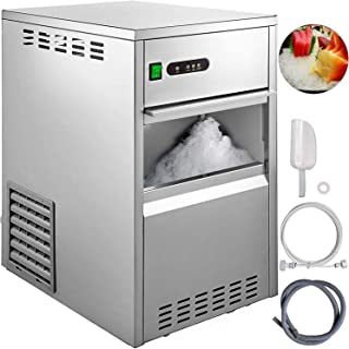 VBENLEM 44LB 24H Snowflake Ice Maker Commercial Ice Machine Countertop Stainless Steel Ice Maker Machine Freestand Crusher Suit for Seafood Restaurant Bar Coffee Shop Home Use