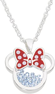 """Disney Birthstone Women and Girls Jewelry Minnie Mouse Silver Plated Shaker Pendant Necklace, 18+2"""" Extender"""