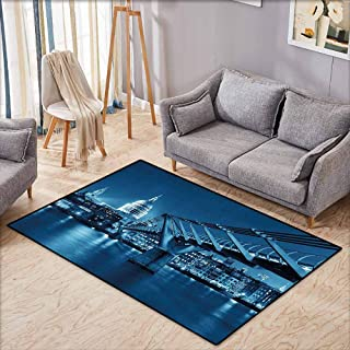 Collection Area Rug,Cityscape,Millennium Bridge and St Pauls Cathedral at Night in London Monument Town Scenery,Ideal Gift for Children,4'7