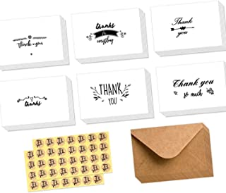 Ohuhu Assorted Thank You Cards, 48 Pack Thank U Greeting Cards Folded Thank You Note Cards of 6 Designs W/ 48 Brown Kraft Paper Envelopes and 48 Stickers for Wedding, Baby Shower, Thanksgiving Cards
