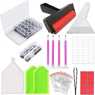 Diamond Painting Kit 42 Stks DIY Cross Stitch Gereedschap Set Borduurwerk Naaiaccessoires met Quick Point Pen, Plastic lad...