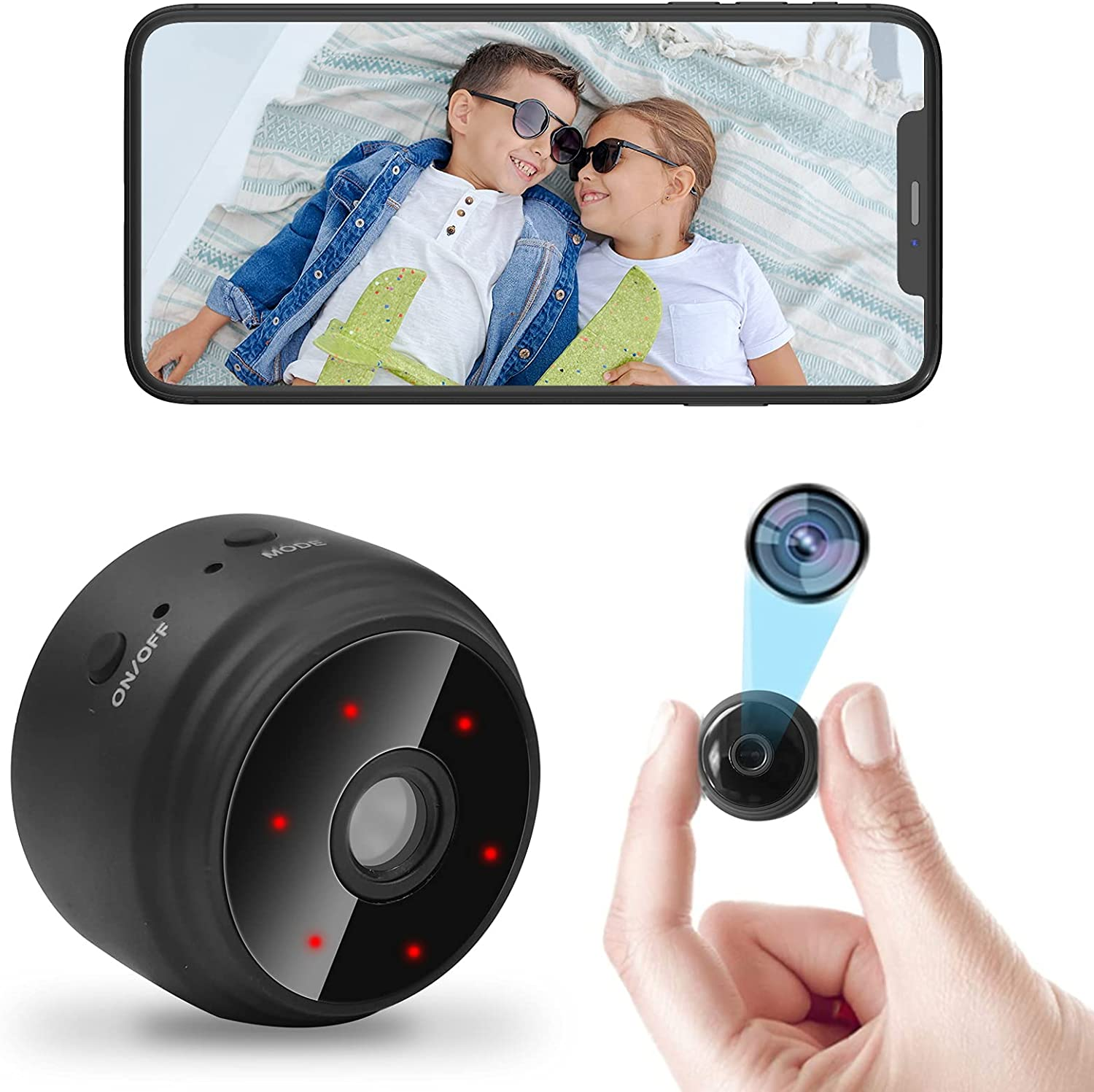 Spy Camera, EEOUK WiFi Mobile Mini Portable Camera HD 1080P for Home Security Pet Surveillance Video Night Vision and Android iOS Compatible