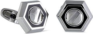 Rotonde Stainless Steel Black Enamel Hexagon Cufflinks