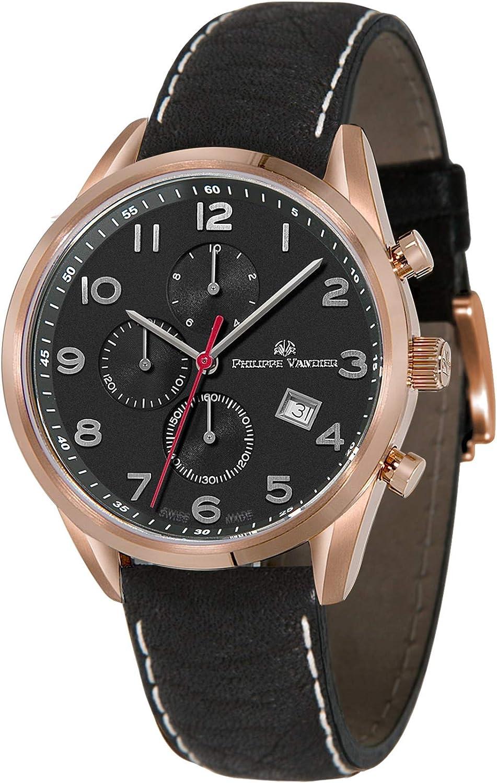 Philippe Vandier Reloj Hombre Swiss Made Eclypse Rouge Black Movimiento Cuarzo Suizo Cronógrafo con Correa de Piel y Cristal Zafiro