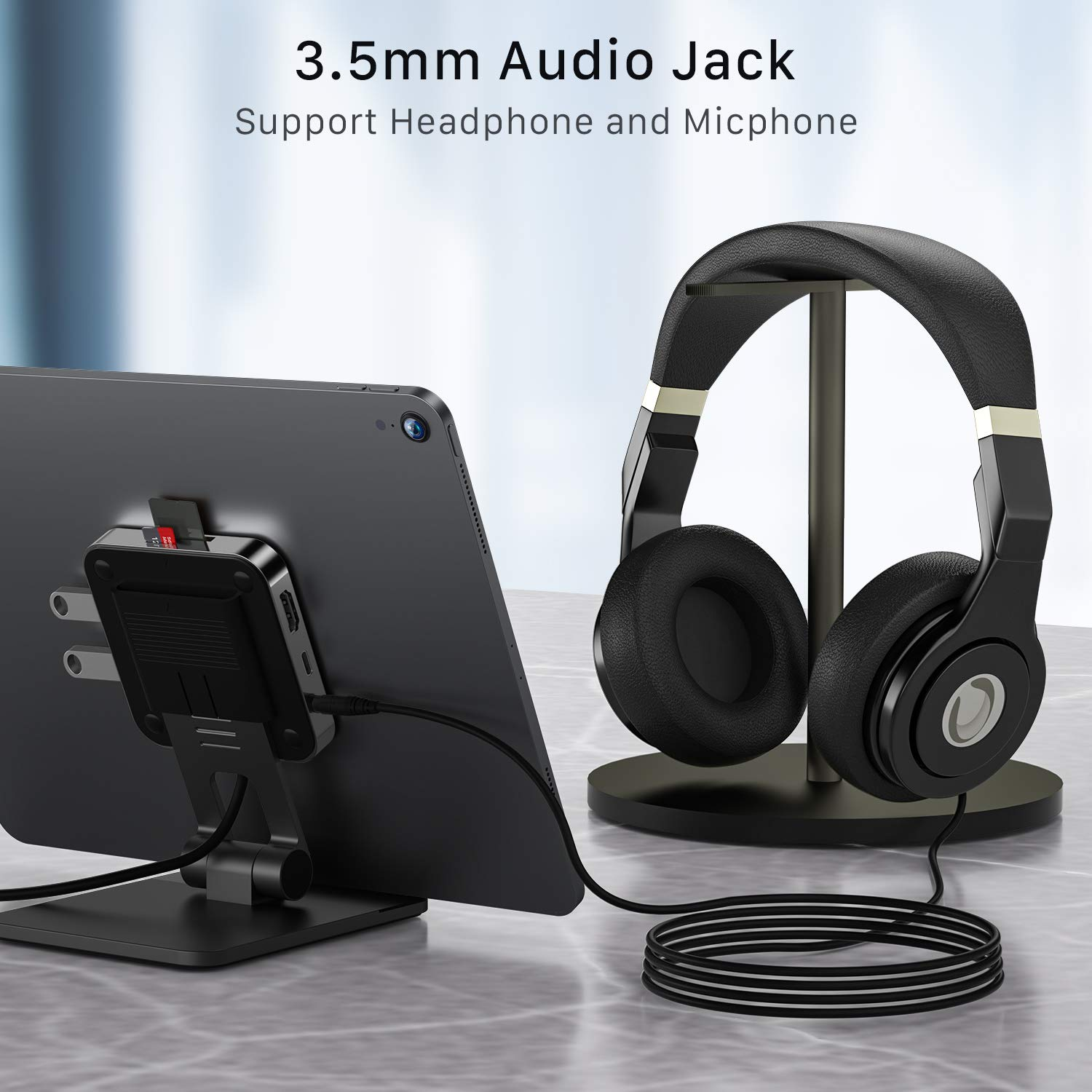 USB C Hub Stand iPad Pro, BYEASY foldable Multiport Adapter Dongle with HDMI 4K Adapter, PD Charging, 2 USB 3.0 ports, SD/TF Card Reader, 3.5mm Headphone Jack for Galaxy Tab S4, S5e, S6, Huawei M5/M6