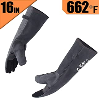RAPICCA Forge Welding Gloves Extreme Heat Resistant Leather with Kevlar Stitching,Perfect for Fireplace,Stove,Oven,Furnace,Grill,BBQ,Mig,Pot Holde,Animal handling 16 inches Extra Long Sleeve – Gray