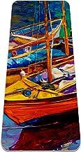 ASDFSD Yogamat, dik schuim 6mm, antislip, fitnessfitnessfitnessruimte, compacte lichtgewicht boten en zonsondergang