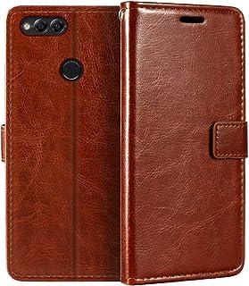 جراب محفظة Huawei Honor 7X، جراب قلاب مغناطيسي من الجلد الصناعي الممتاز مع حامل بطاقة ومسند لهاتف Huawei Honor 7X