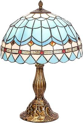 QJUZO Lampe de Table Tiffany Vintage Pastoral Méditerranée Style, 18-Pouce Art Deco Lampe de Chevet Led Chambre Adulte, Lampe de Bureau Industrielle Vintage pour Salon Hôtel, Bleu Vitrail Abat-Jour