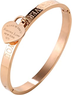 JINHUI ❤Thanksgiving Day Gift Jewelry 18 K Rose Gold/Gold Bangle Bracelet Heart Pendant Forever Love Letters Engraved Bangle Bracelet for Women Size 6.5''