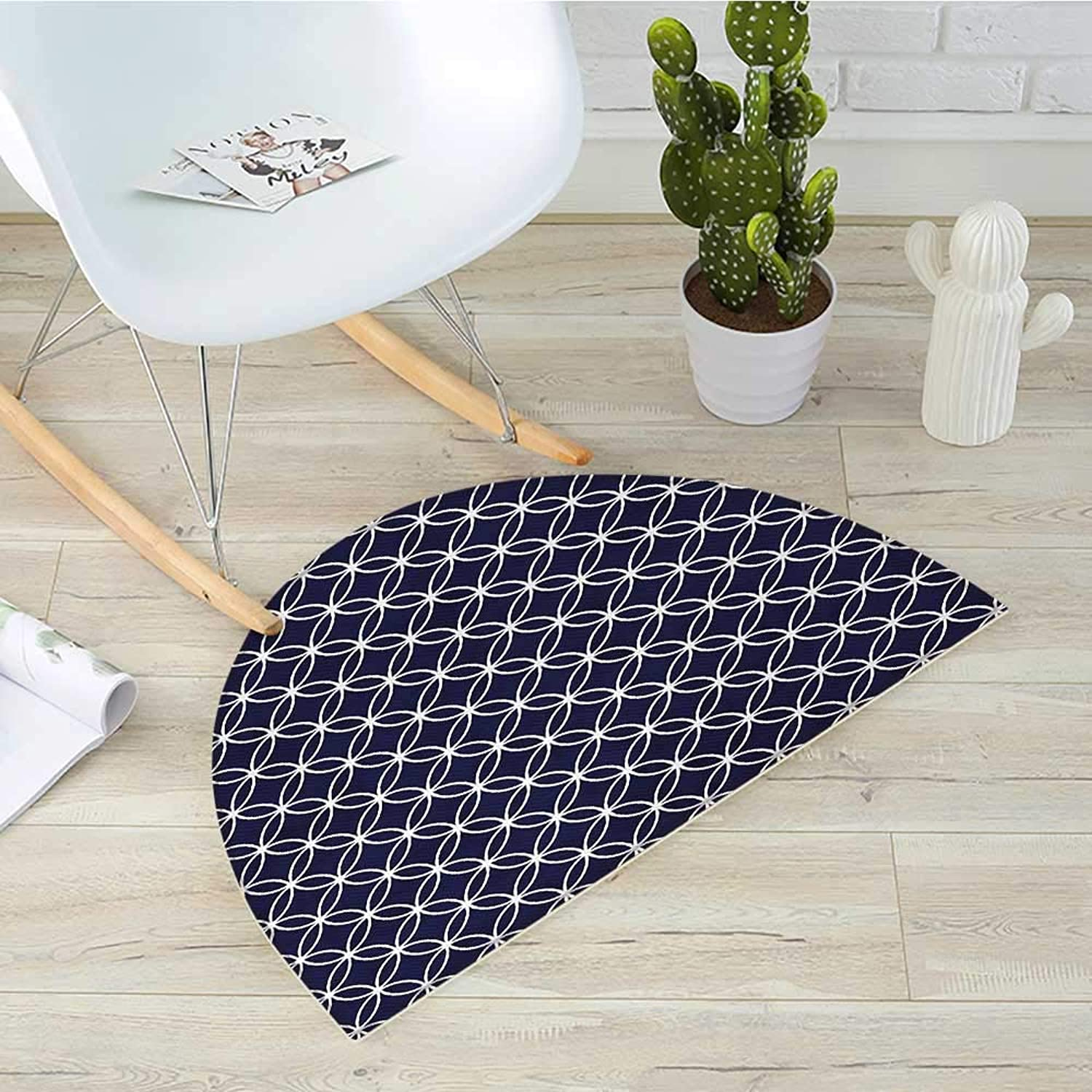 Navy Semicircle Doormat Trellis Inspired Pattern Quatrefoil Circles Mgoldccan Style Tile Theme Image Halfmoon doormats H 43.3  xD 64.9  Navy bluee and White