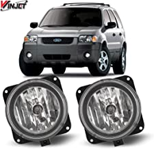 Fog Lights Compatible With 2002-2005 Lincoln LS Mustang Cobra Focus SVT   Factory Style Polycarbonate Resin Clear Driving Running Foglight Foglamp Lamps LED Super Bright by IKON MOTORSPORTS   2003