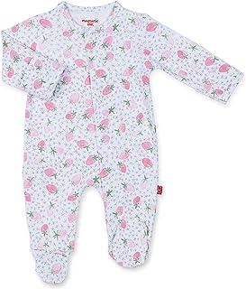 Magnetic Me Footie Pajamas 100% Organic Cotton Baby Girls Sleepwear Quick Magnetic Fastener Sleeper Strawberries and Cream...