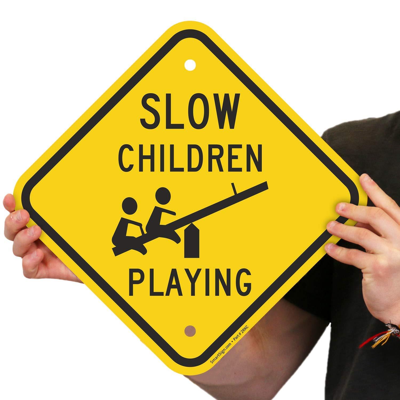 "SmartSign ""Slow - Children Playing"" Sign | 12"" x 12"" Aluminum: Amazon.com:  Industrial & Scientific"