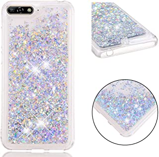 XYX Phone Case for Y6 2018,[Quicksand Series] Liquid Floating TPU Bumper Protective Case for Girls Women for Huawei Y6 2018 - Silvery