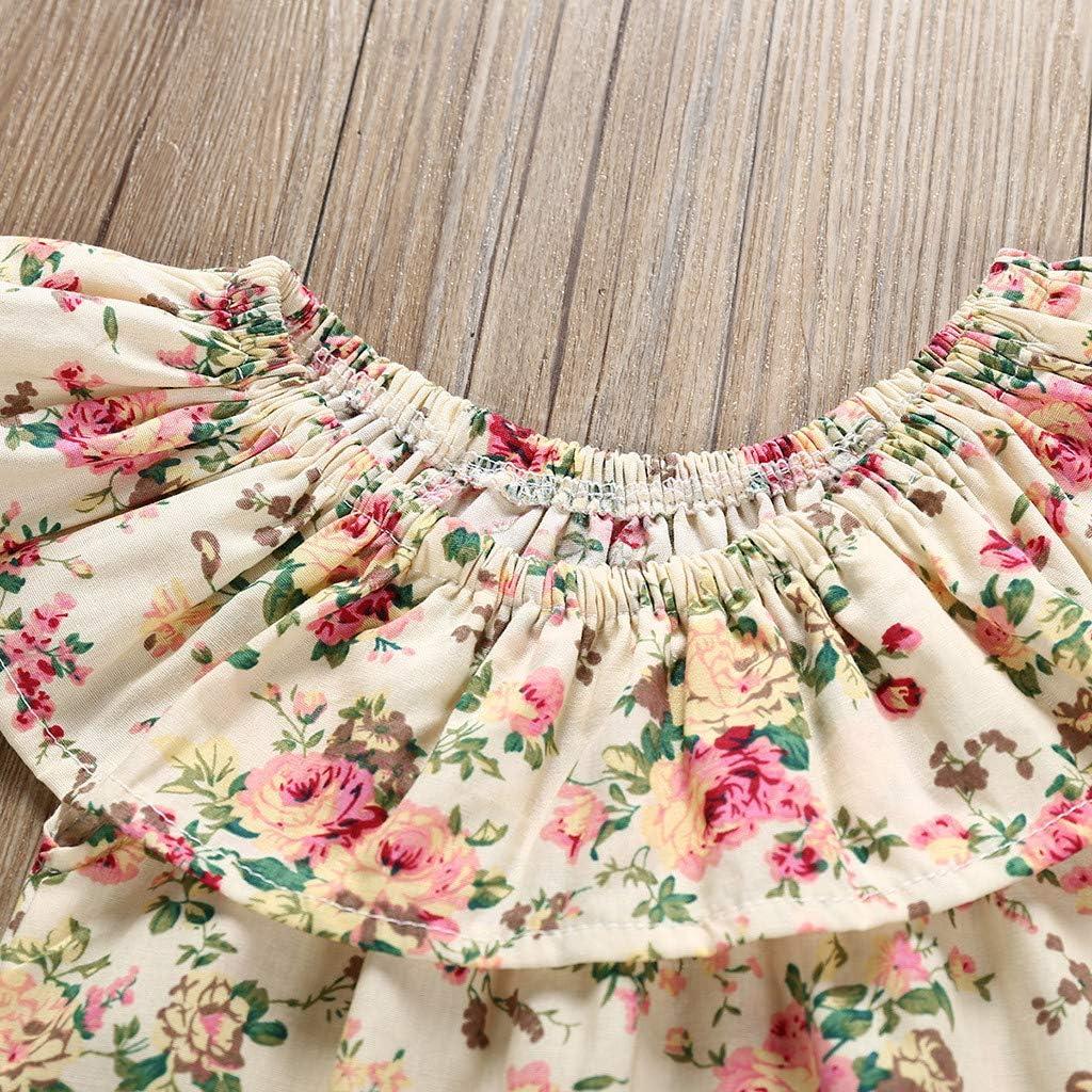 Shorts Outfit Summer Set RYGHEWE 2Pcs Newborn Baby Girl Clothes Off Shoulder Flower Ruffle T-Shirt