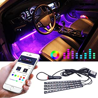 Interior Car LED Decorative Light,Waterproof Multicolor Music LED Strip Light,4pcs 48 LEDs Car Strip Lights with Sound Active Function and Simple Control,Mobile Phone Wireless Remote Control
