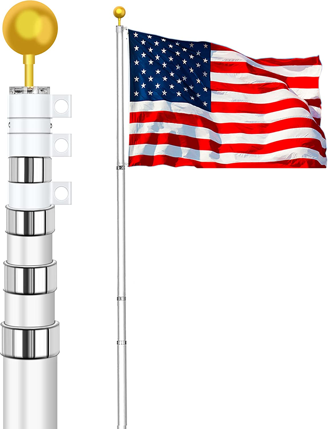 Max 76% OFF kese 25FT Telescopic Flag Large discharge sale Pole Flagp Duty Kit Residential Heavy