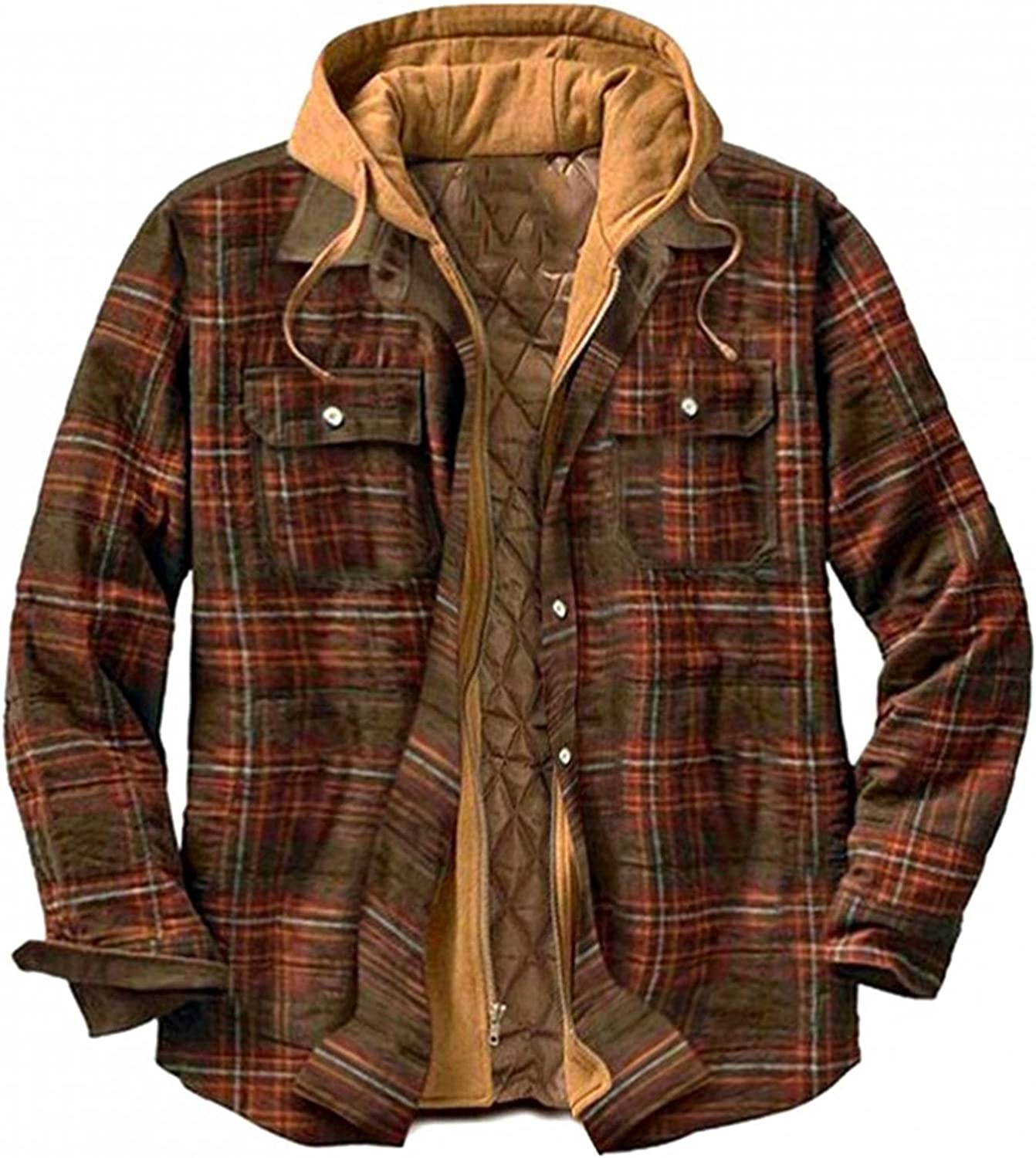 FUNEY Jackets for Men Fashion Casual Lightweight Long Sleeve Quilted Lined Hoodie Flannel Plaid Shirt Jacket with Hood