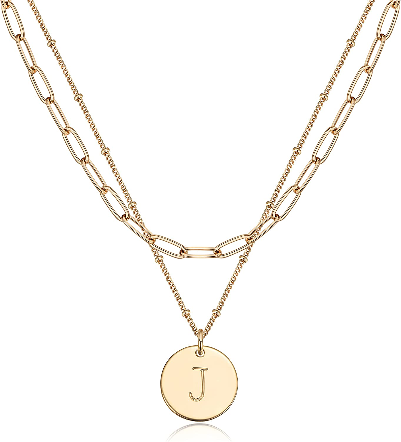 Fettero Layered Necklace Set Gold Coin Disc Initial Pendant 14K Gold Plated Dainty Satellite Paperclip Link Chain Choker Personalized Jewelry Birthday Gift for Women Letter A-Z