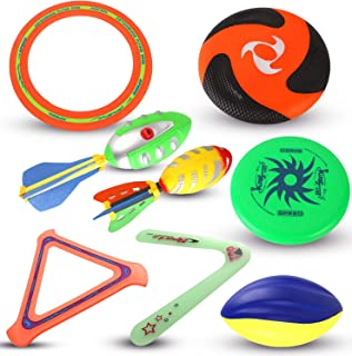 Liberty Imports 8 in 1 Ultimate Outdoor Sports Combo Play Set   Foam Football, Plastic Flying Discs, Aero Rings, Boomerang...
