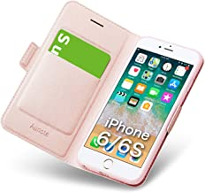 """iPhone 6s Flip Case, iPhone 6 Folio Cover with Card Holder, Foldable Kickstand, and Magnetic Closure, Ultra Slim Leather Wallet, Hard PU Soft TPU, Full Protection for Apple 6/6s 4.7"""" Phone. Rose Gold"""