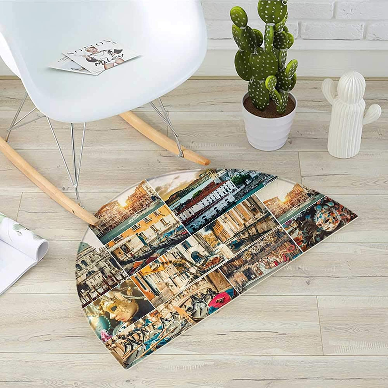 Travel Semicircle Doormat Collage of Various Views of Venice City with Canal Cathedral Palace Travel Theme Halfmoon doormats H 43.3  xD 64.9  Multicolor